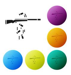 Black gun shooting icon isolated on white vector