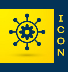 Blue project management icon isolated on yellow vector