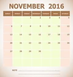 Calendar November 2016 week starts Sunday vector image