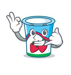 call me yogurt mascot cartoon style vector image