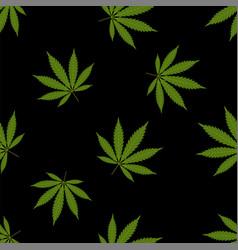 Cannabis seamless pattern marijuana leaf green vector