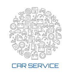car service round poster of auto repair shop icon vector image