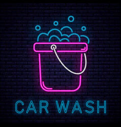 Car wash neon vector