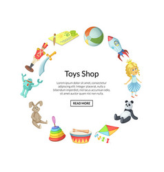 Cartoon children toys in circle shape with vector