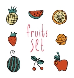 cartoon flat fruits set icon stickers vector image