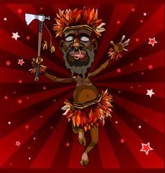 Cartoon man dances in an aboriginal costume vector