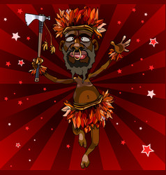 cartoon man dances in an aboriginal costume with vector image