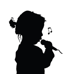 Child singing silhouette vector