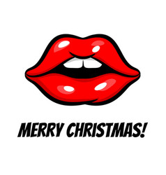 christmas woman lips in pop art style vector image