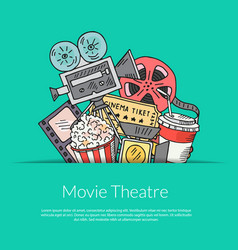 cinema doodle icons background vector image