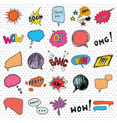 Comic book speech bubbles and cartoon sound vector