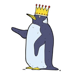 comic cartoon penguin wearing crown vector image
