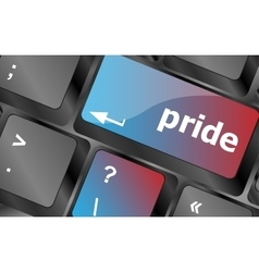 Computer keyboard key with pride word vector image