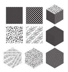 Cube shapes with patterns set vector