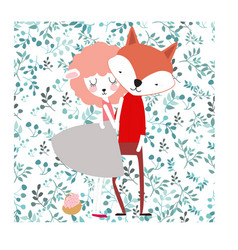 cute lover fox and lamb on spring flower seamless vector image