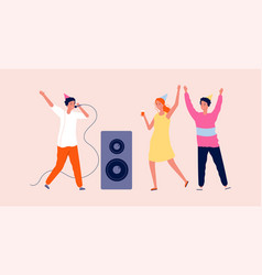 Disco party woman man dancing and singing vector