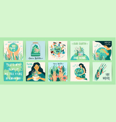 earth day save nature templates for card vector image