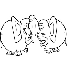 Elephants in love coloring page vector