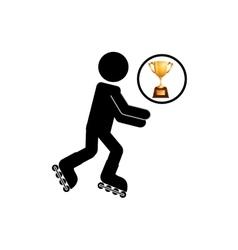 Extreme sport avatar inline skate vector