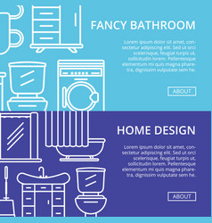 Fancy bathroom poster set in linear style vector