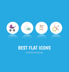 Flat icon baby set of child chair napkin vector