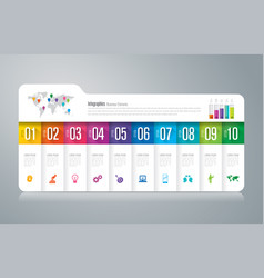 folder infographics design with 10 options vector image