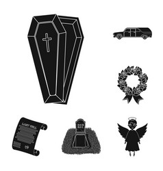 Funeral ceremony black icons in set collection for vector