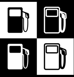 Gas pump sign black and white icons and vector