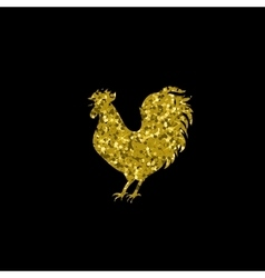 Gold glitter rooster on black background vector image