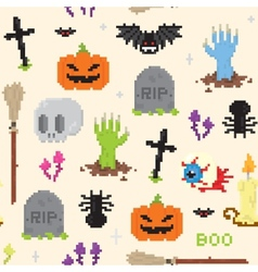 Halloween pixel art pattern vector