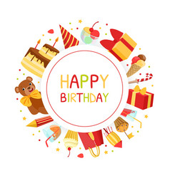 happy birthday banner template with holiday vector image