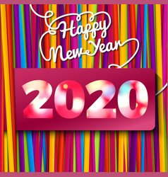 happy new year greeting card bright laces bundle vector image