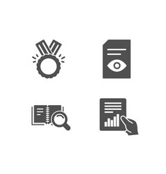 Honor search book and view document icons vector