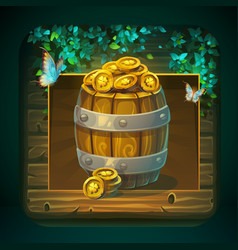 Icon barrel with gold coins for game user vector