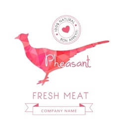 Image meat symbol pheasant silhouettes of animal vector