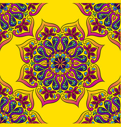 Indian ornamental seamless pattern ethnic folk vector
