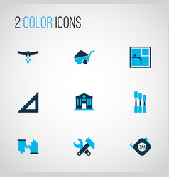 Industry icons colored set with straightedge vector