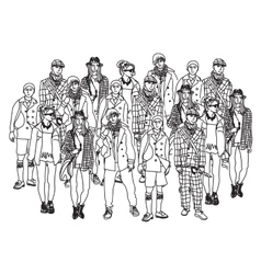 Isolate group young fashion people monochrome vector image