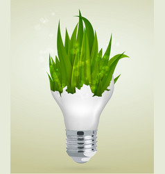Light bulb with grass the concept vector