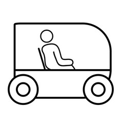 Line person seated in the futuristic car vector