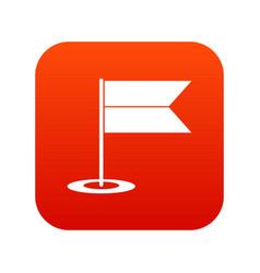 Locator flag icon digital red vector