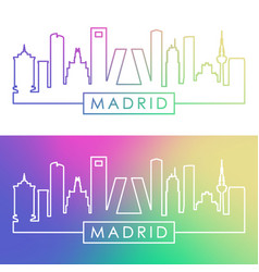 madrid skyline colorful linear style vector image
