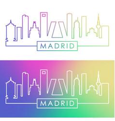Madrid skyline colorful linear style vector