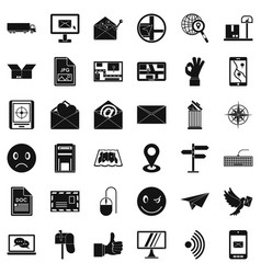 mailing list icons set simple style vector image