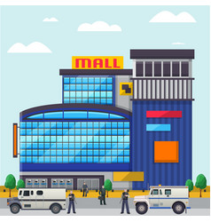 Mall commercial building with collector people vector