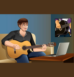 Man learning guitar vector