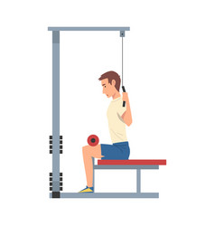 Man training with gym machine vector