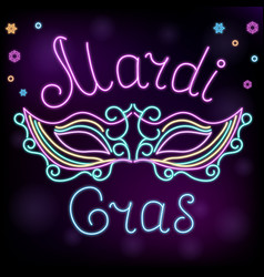 Mardi gras neon mask decoration to fat tuesday vector