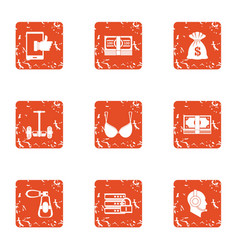 Money boost icons set grunge style vector