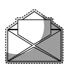 Monochrome contour sticker with open envelope mail vector